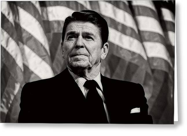 American Politician Greeting Cards - President Ronald Reagan Speaking - 1982 Greeting Card by Mountain Dreams