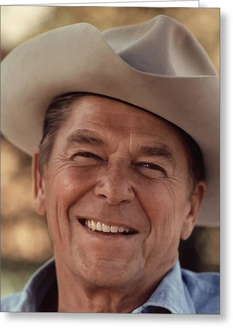 President Paintings Greeting Cards - President Ronald Reagan Greeting Card by War Is Hell Store