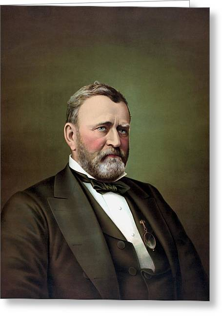 President Paintings Greeting Cards - President Ulysses S Grant Greeting Card by War Is Hell Store
