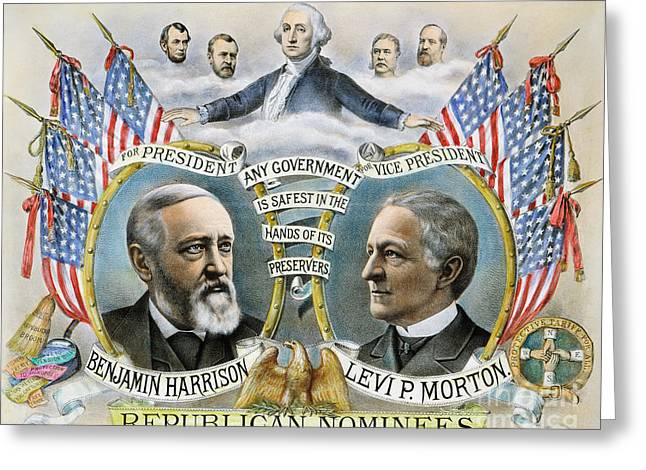 Vice Presidents Greeting Cards - Presidential Campaign, 1888 Greeting Card by Granger