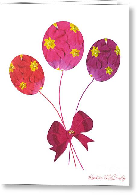 Primroses Mixed Media Greeting Cards - Primrose Balloons Greeting Card by Kathie McCurdy