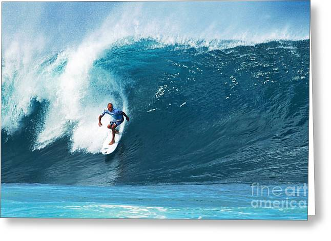 Kelly Slater Greeting Cards - Pro Surfer Kelly Slater Surfing in the Pipeline Masters Contest Greeting Card by Paul Topp