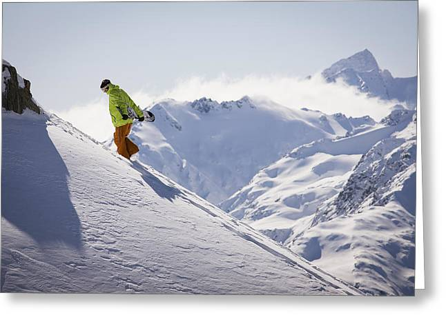 Extreme Lifestyle Greeting Cards - Professional Snowboarder, Frederik Greeting Card by Dean Blotto Gray
