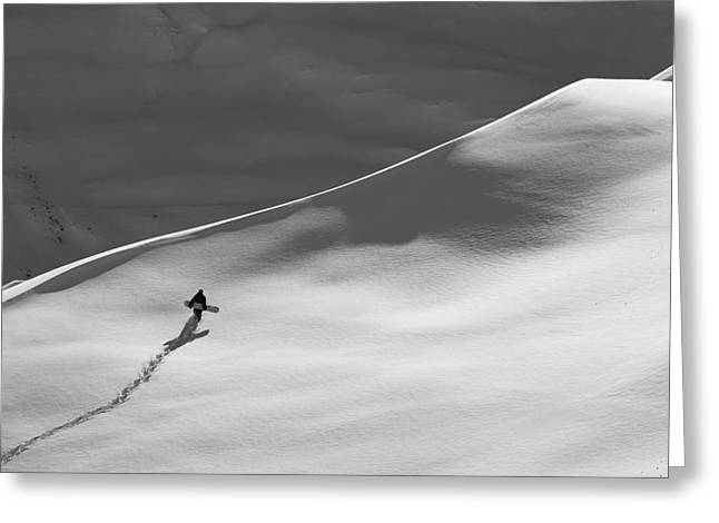 Powder Snow Greeting Cards - Professional Snowboarder, Gigi R Greeting Card by Dean Blotto Gray