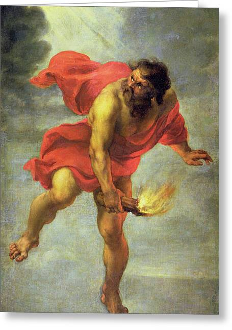Flee Greeting Cards - Prometheus carrying fire Greeting Card by Jan Cossiers