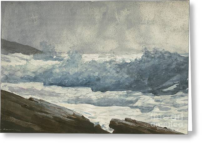 Prouts Neck, Breakers Greeting Card by Winslow Homer
