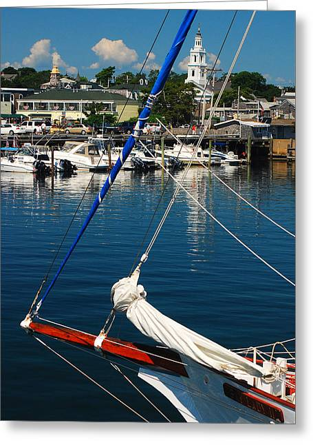 Docked Sailboats Greeting Cards - Provincetown Harbor Greeting Card by James Kirkikis