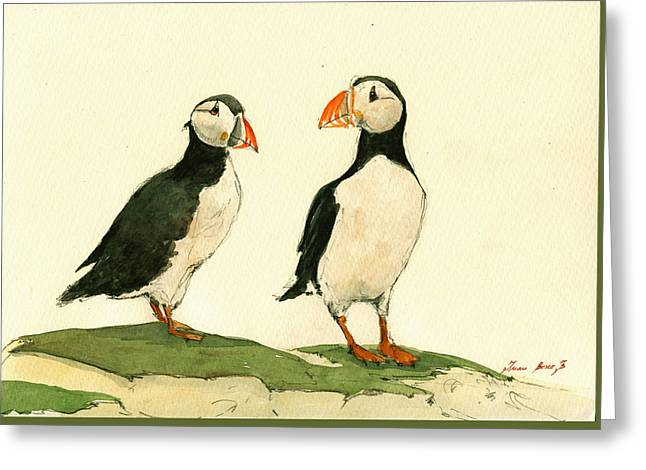 Puffins Greeting Cards - Puffins  Greeting Card by Juan  Bosco