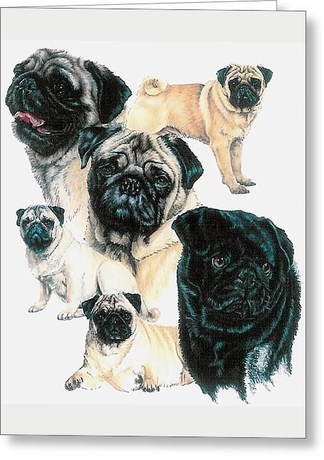 Toy Dog Greeting Cards - Pugs Greeting Card by Barbara Keith