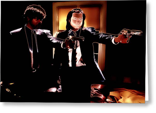 Machismo Greeting Cards - Pulp Fiction Hands Up Greeting Card by Brian Reaves