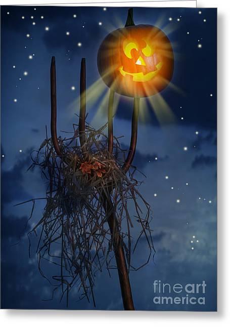 Pumpkin Sitting On Pitch Fork Greeting Card by Amanda Elwell