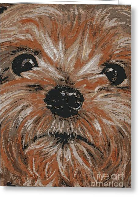 Pup Pastels Greeting Cards - Pup posterized Greeting Card by Linda Eversole