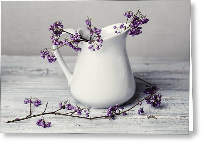 Purple Berries Greeting Card by Nailia Schwarz