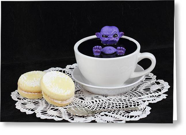 Fairies Sculptures Greeting Cards - Purple fairy in a Teacup Greeting Card by Michael Palmer