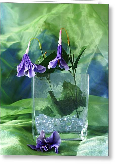 Purple Flowers Greeting Card by Florene Welebny