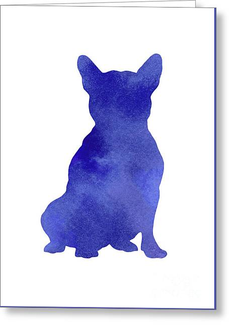Purple French Bulldog Watercolor Art Print Painting Greeting Card by Joanna Szmerdt