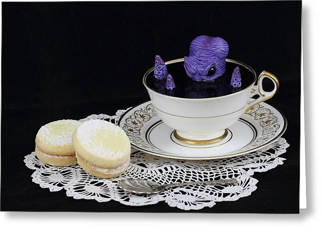 Awesome Sculptures Greeting Cards - Purple Octopus in a Teacup Greeting Card by Michael Palmer