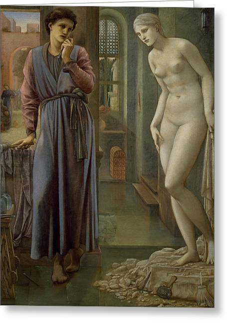 Greek Myth Greeting Cards - Pygmalion and the Image The Hand Refrains Greeting Card by Edward Burne-Jones