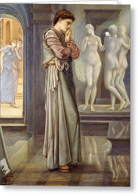 Greek Myth Greeting Cards - Pygmalion and the Image The Heart Desires Greeting Card by Edward Burne-Jones