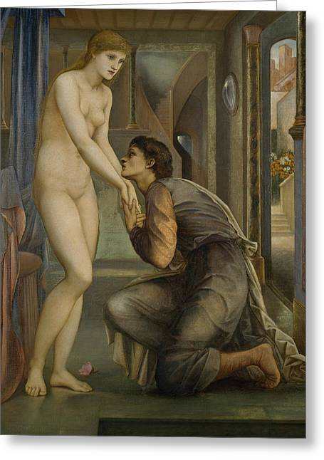 Greek Myth Greeting Cards - Pygmalion and the Image The Soul Attains  Greeting Card by Edward Burne-Jones
