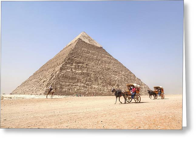 Camels Photographs Greeting Cards - Pyramid of Khafre - Egypt Greeting Card by Joana Kruse