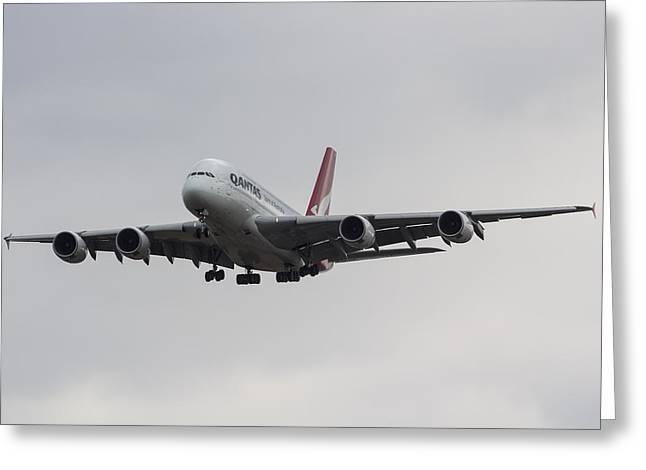 Qantas Airbus A380 Greeting Card by David Pyatt