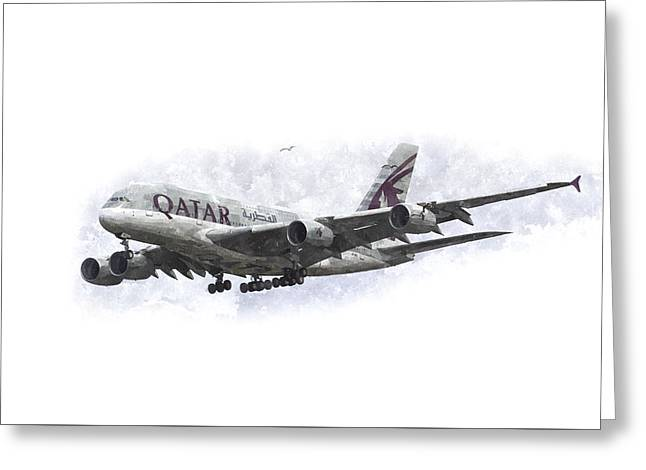 A380 Greeting Cards - Qatar Airlines Airbus And Seagull Escort Art Greeting Card by David Pyatt