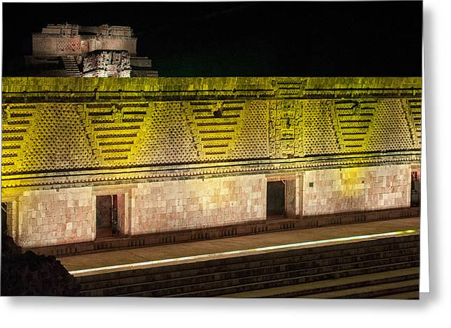 The Quadrangle Greeting Cards - Quadrangle of the Nuns at Uxmal Night Show Greeting Card by Carol Ailles