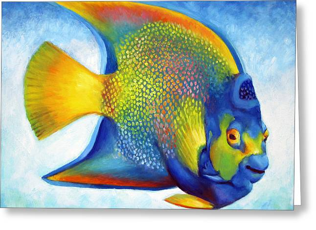 Juvenile Paintings Greeting Cards - Queen Angelfish Greeting Card by Nancy Tilles