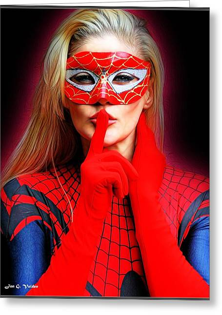 Superwoman Greeting Cards - Quiet Please Greeting Card by Jon Volden