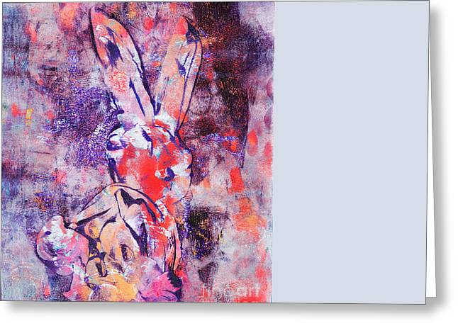 Printmaking Greeting Cards - Rabbit Greeting Card by Laura L Leatherwood