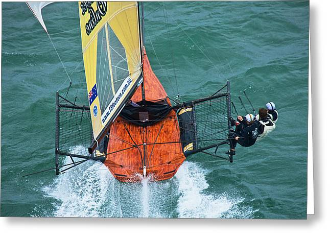 Sailboat Photos Greeting Cards - Racing With the Wind Greeting Card by Steven Lapkin