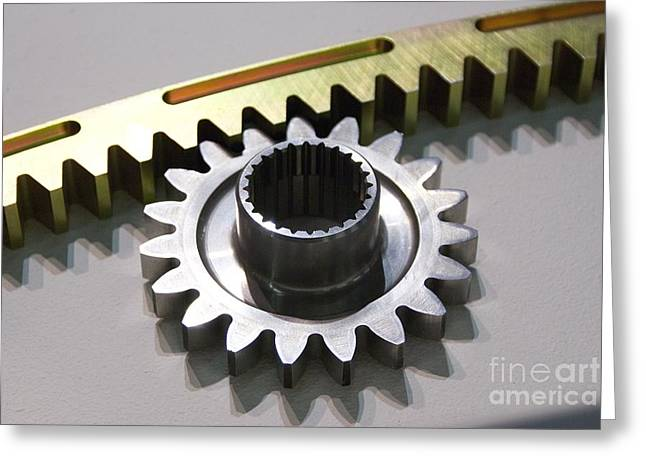 Tech-art Greeting Cards - Rack And Pinion Greeting Card by Mark Williamson