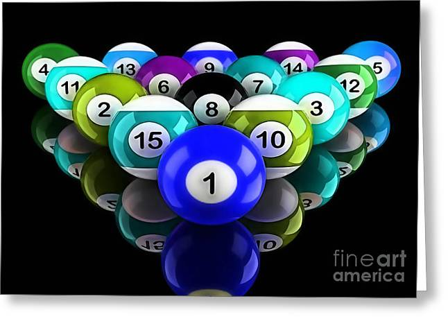 Billards Greeting Cards - Rackem Up Art Collection Greeting Card by Marvin Blaine