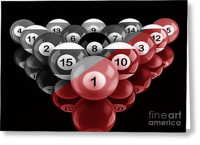 Billards Greeting Cards - Rackem Up Collection Greeting Card by Marvin Blaine