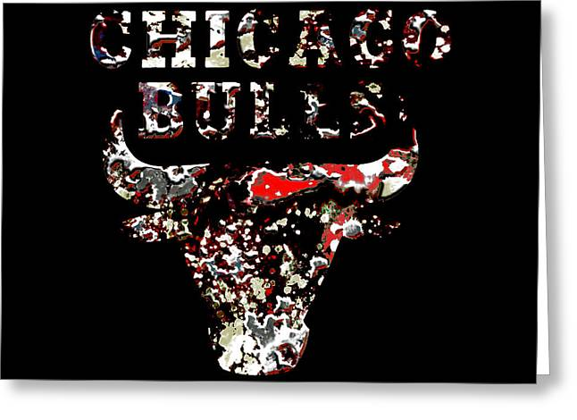 Basketballs Greeting Cards - Raging Bulls Greeting Card by Brian Reaves
