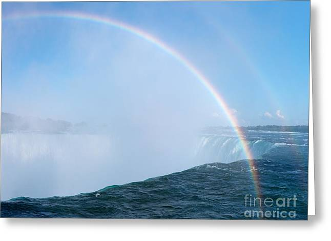Canadian Nature Scenery Greeting Cards - Rainbow over Niagara Falls Horseshoe Waterfall Greeting Card by Oleksiy Maksymenko