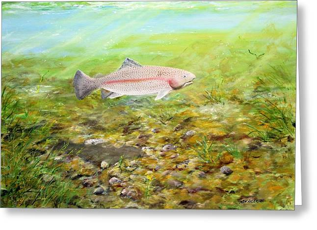 Rainbow Trout Greeting Card by Ken Ahlering
