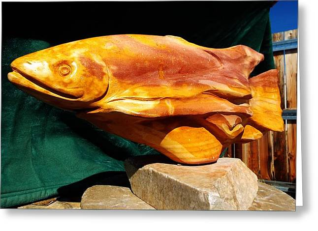 Stream Sculptures Greeting Cards - Rainbow Trout Greeting Card by Ken DeRosier