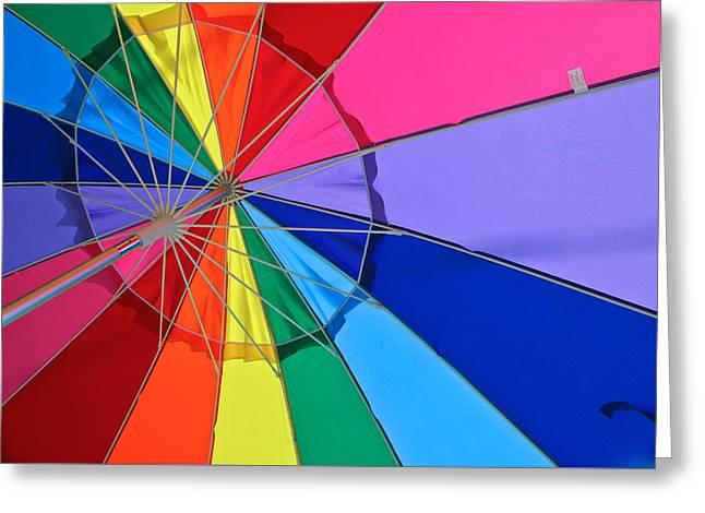 Blue Abstracts Greeting Cards - Rainbow Umbrella Greeting Card by Gunjan Vaishnav