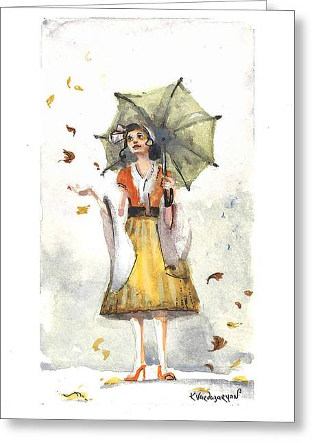 Windy Greeting Cards - Rainy Day Greeting Card by Kristina Vardazaryan