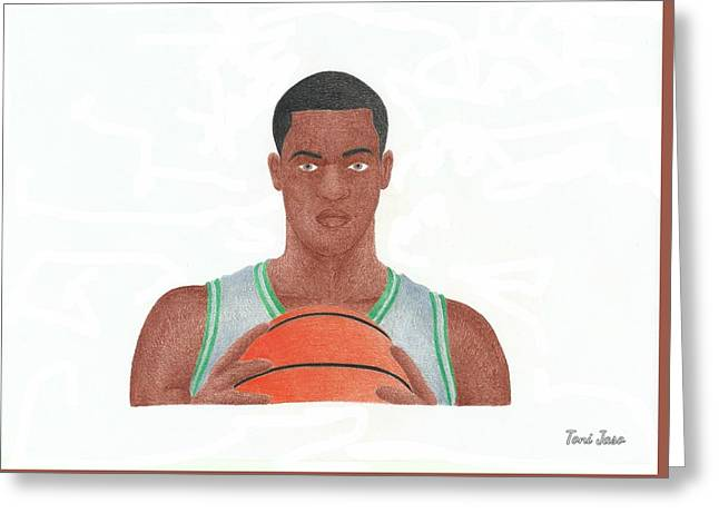 Boston Celtics Drawings Greeting Cards - Rajon Rondo Greeting Card by Toni Jaso