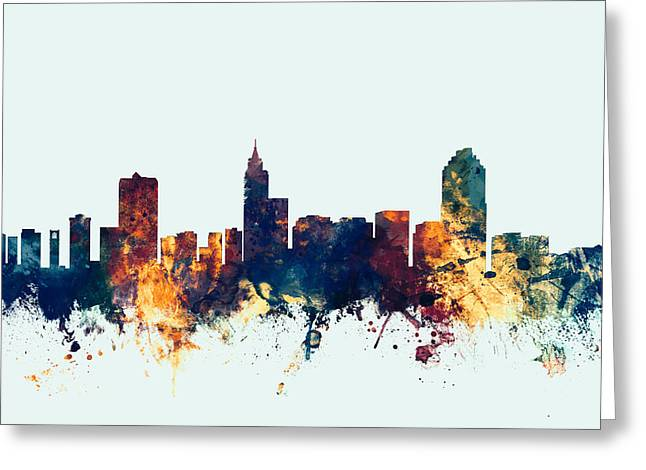 Silhouettes Greeting Cards - Raleigh North Carolina Skyline Greeting Card by Michael Tompsett
