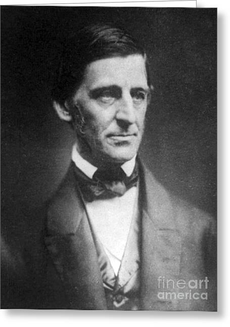 Waldo Greeting Cards - Ralph Waldo Emerson, American Author Greeting Card by Photo Researchers