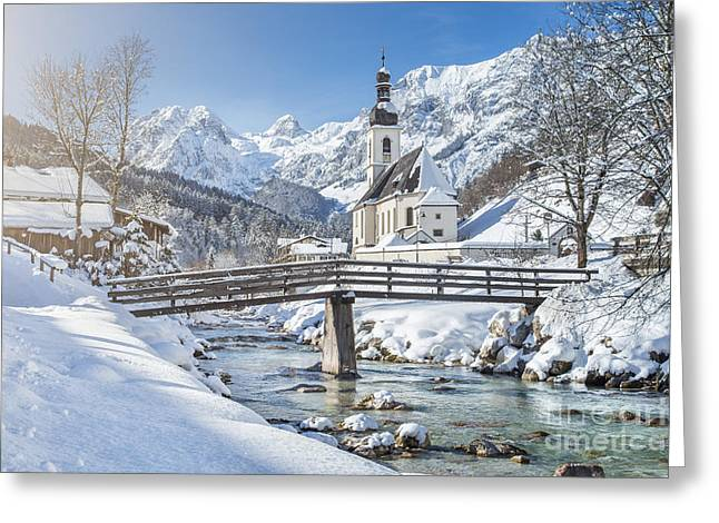 St Sebastian Greeting Cards - Ramsau in winter Greeting Card by JR Photography