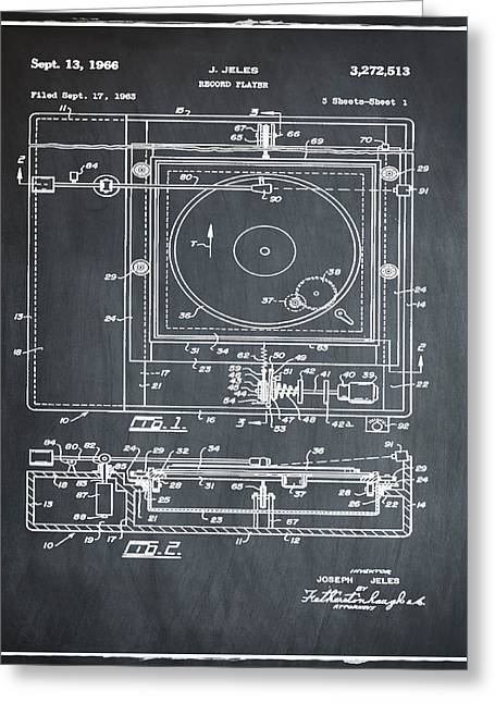 Record Player Patent 1966 Chalk Greeting Card by Digital Reproductions