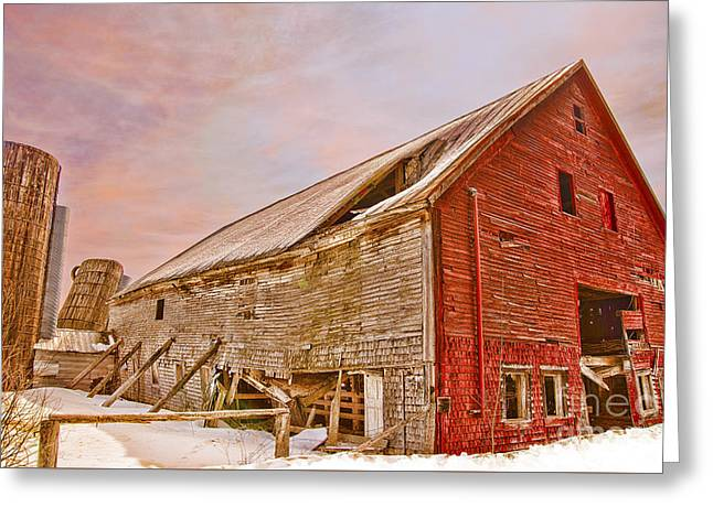 Old Maine Barns Greeting Cards - Red Barn in Winter Greeting Card by Alana Ranney
