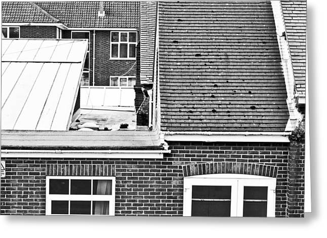 Gutter Greeting Cards - Red brick buildings Greeting Card by Tom Gowanlock