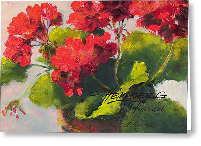 Red Geraniums Greeting Cards - Red Geranium Greeting Card by Connie Herberg