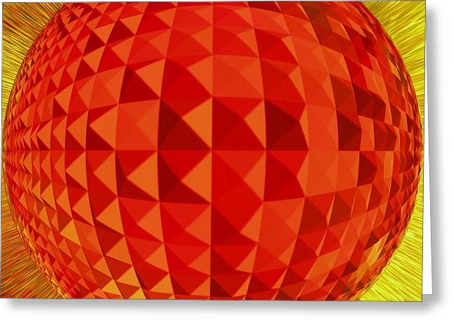 Basis-chakra Greeting Cards - Red-Globe Greeting Card by Ramon Labusch